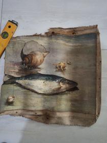 老油画,鱼,海螺。