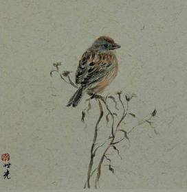 青年新锐油画家疫情其创作国画小品《鸟系列》7、33x33cm 作品成交记录雅昌拍卖可查