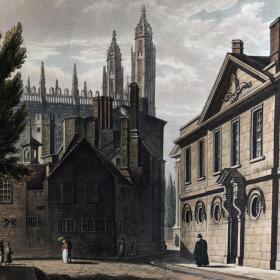 1815年初版本「三一学堂」普金[绘] 斯塔德勒[刻] 剑桥大学历史手工上色飞尘腐蚀铜版画 尺寸33.5*27.5厘米 /cambrg18