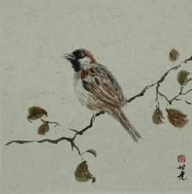 青年新锐油画家疫情其创作国画小品《鸟系列》6、33x33cm 作品成交记录雅昌拍卖可查