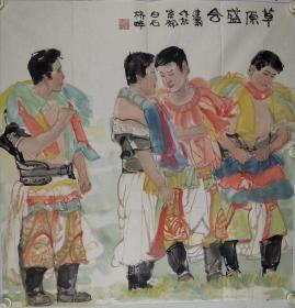 张建岗       尺寸  68/68  软件 解放军艺术学院副教授,1955年2月生,内蒙古包头市人。有《水乡》1990年于土耳其安卡拉参加《土耳其双年展》;《战争年代的印象》1 992年参加纪念建军65周年画展;《女肖像》1992年参加香港《金秋大展》。  1972年毕业于包头市师范学校美术专业;1977年于上海美术学校进修,后任空政歌剧团美工