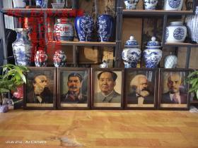 文革时期五大伟人玻璃画一套,做工精细,老框老画,保存完整,无磕碰,品相尺寸如图