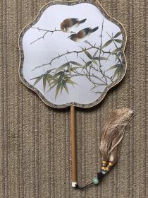 朱春鸿 作品 可合影  精品工笔宫扇,直径21厘米,可定制