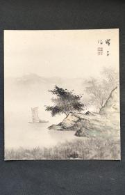 D310:回流手绘硬卡纸山水图(日本回流书画.回流老画.老字画)