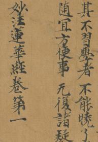敦煌遗书 台北08726妙法莲华经卷第一手稿。纸本大小30*909.5厘米。宣纸原色仿真。微喷
