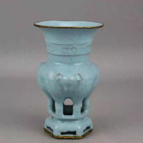 天青釉包铜口三羊尊瓶