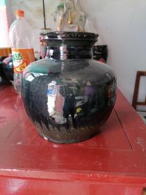 明清老窑瓷黑瓷罐,高23,口13