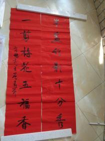 安徽省书协理事,安庆市书协副主席唐罡先生书法原作对联.保真