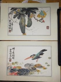 吴弗之  花鸟画册页2幅 原装旧裱 霉斑较多 尺寸34x22x2