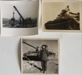 一批三张解放军装甲兵59式中型坦克两张与84式WZ653A型坦克抢救牵引车一张老照片