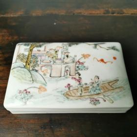 印泥盒同治款粉彩人物印泥盒古玩古董老瓷器老物件文房用品收藏品
