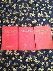 广阔天地炼红心。毛主席关于文学艺术的五个文件。无产阶级专胜利万岁纪念巴黎公社一百周年(3本合售)林彪题词。