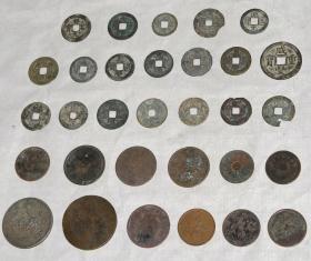 古代老钱币:《宋代、清代、民国铜钱》老钱币31枚.。