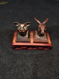 猪兔头紫铜印章