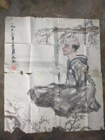 刘文西 1963年 人物画  品相较差 破烂严重 尺寸60x48
