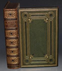 1853年 Poetical Works of Lord Byron《拜伦诗全集》全牛皮满堂烫金精装插图本 名工坊Budden装帧 增补插图 大开本 金碧辉煌品佳