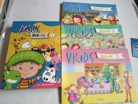 天童美语·维克斯系列英语教程. Vkids Book1. Book2.Book3【3册书】+( VKIDS DVD CD1 全12光盘)【实图现货】