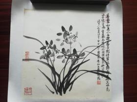 周国城国画《兰花》,34cm*34cm