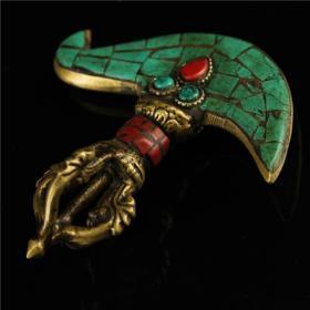 铜镶嵌宝石金刚降魔斧法器