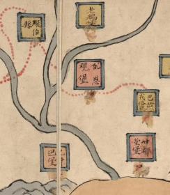 古地图1855-1871清咸丰同治年间甘肃舆图。彩绘本,地方行政区图。纸本大小117.79*210.77厘米。宣纸原色仿真。微喷复制