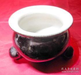 老瓷器罕见黑金釉三足瓷香炉旧瓷器插祭拜香炉具旧瓷具
