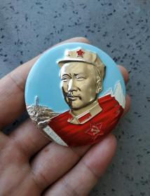 文革时期:毛主席八角帽诗词彩色像章