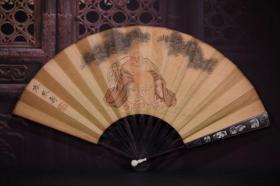 檀木掐银丝手绘纸折扇 长33cm   宽3.5cm  扇面展开59cm 350