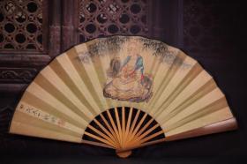 竹子手绘折扇 长33cm    宽3.5cm   扇面展开61cm. 160