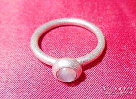 旧纯银带丹麦国际品牌潘多拉款绝版停产镶嵌月光石戒指 旧银器保真品手饰品