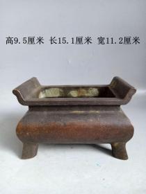 乡下收的大明宣德年制老紫铜铜香炉   .
