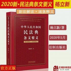 正版 2020中华人民共和国民法典条文要义 杨立新