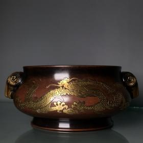 紫铜鎏真金手工錾刻龙纹香炉摆件 重1940克