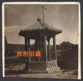 民国老照片,北方寺庙古碑亭老照片