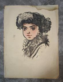 原版版画:五六十年代 藏族少女 38厘米×29厘米