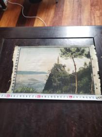 民国刺绣(卢山极顶)商国标中华民国都锦生丝织厂制