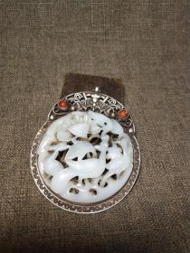 旧藏和田玉包银玉牌