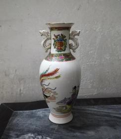 吹萧引凤*非常漂亮的文革广彩瓷瓶