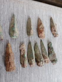 老铜箭头,距今1000到2000年,包真包老,每个10元,大小不等,永远保真,售出不退。共15个。