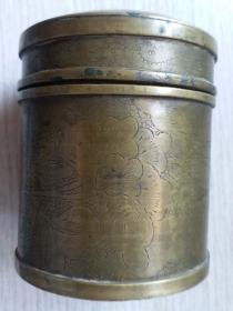 民国时期手工刻花出口青铜烟筒(做工厚实)