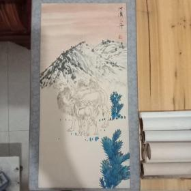 中国写意花鸟画[融入山水,形式类似于民国写意花鸟画大师番天寿的中国画《记写雁宕山花》,属于兼融花鸟(包括其它动物)及山水的创新型画作]