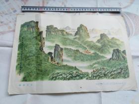 年画宣传画风景画之类:油茶之乡 1973年印
