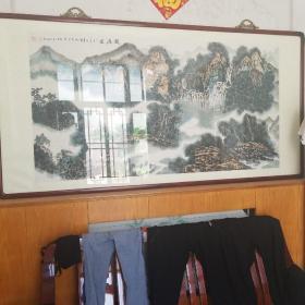 天津著名画家张贺亮六尺整张山水画