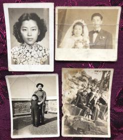 民国-解放初期 旗袍美女、多人合影、结婚证、带小孩等老照片4枚
