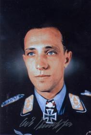 二战德国空军第七号王牌埃里希·鲁道夫勒签名照