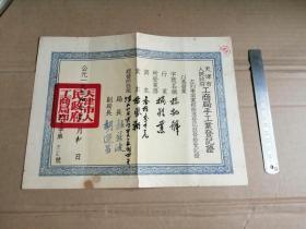 54年 天津市工商局手工业登记证