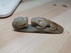 古旧.青白玉苍龙望子(望子成龙)玉带钩,包浆好,雕工精绝。11厘米