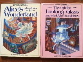 英文原版 两册合售 爱丽丝梦游仙境 + 爱丽丝镜中奇遇 Justin Todd插图  Alice's Adventures in Wonderland + Through the Looking-Glass and What Alice found there 原著小说