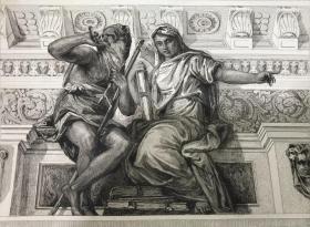 19世纪晚期蚀刻铜版画《克洛诺斯与历史》—意大利文艺复兴时期威尼斯画派画家保罗·委罗内塞(Paolo Veronese,1528-1588年) 雕刻师Wilhelm Woernle 作品 37.7*28.1厘米