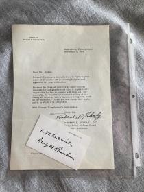 1963年,五星上将艾森豪威尔将军打印信件一封,秘书签名,带影印签名卡