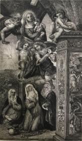 19世纪晚期蚀刻铜版画《圣凯瑟琳的狂喜》—意大利文艺复兴时期锡耶纳画派画家伊尔.索多马(Il Sodoma,1477-1549年,即乔瓦尼·安东尼奥·巴齐)作品 雕刻师Ludwig Kühn 37.7*28.1厘米